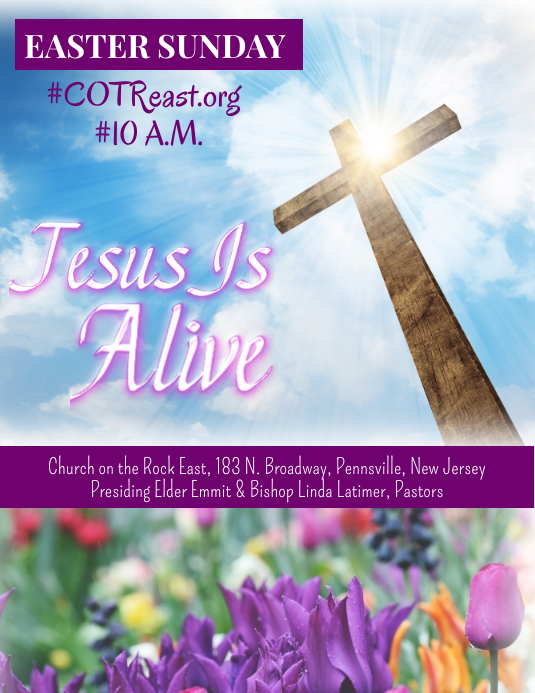 Easter Sunday Service Volantino (US Letter) template