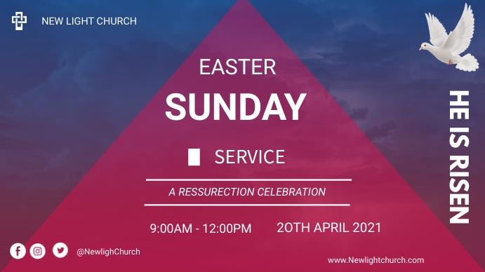 Easter Sunday service flyer Digital na Display (16:9) template