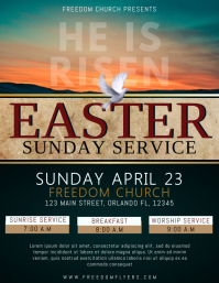 Easter Sunday Service Flyer Template Design