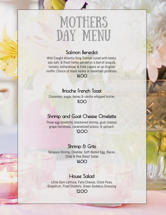 Easter Sunday Weekend Brunch menu