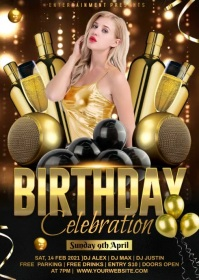 Birthday champagne party A6 template