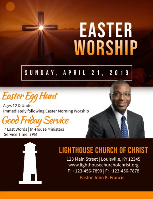 Easter Worship Flyer (format US Letter) template