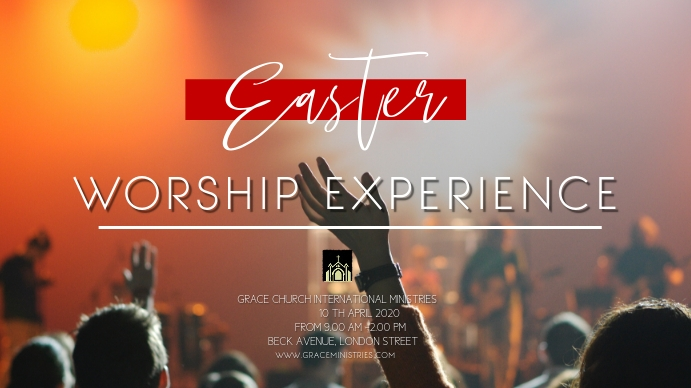 EASTER WORSHIP EXPERIENCE FLYER TEMPLATE Digital na Display (16:9)
