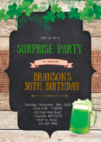 Eat drink and be irish invitation A6 template