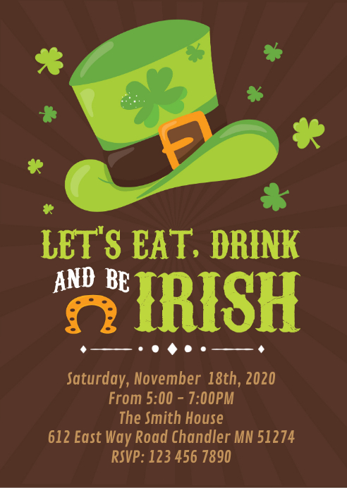 Eat drink and be irish party invitation