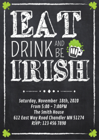 Eat drink and be irish party invitation A6 template