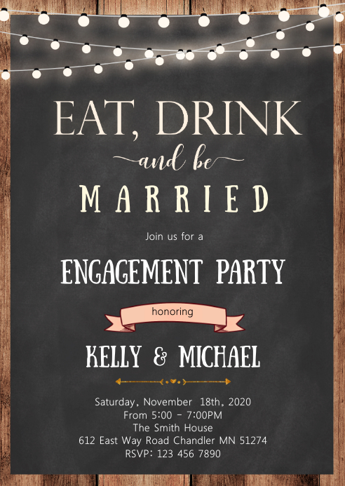 Eat drink and be party invitation
