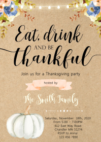 Eat drink be thankful party invitation A6 template