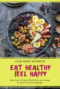 Eat Healthy Feel Happy Pinterest Graphic template