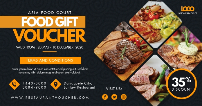 Eatery Food Gift Discount Voucher Facebook 共享图片 template
