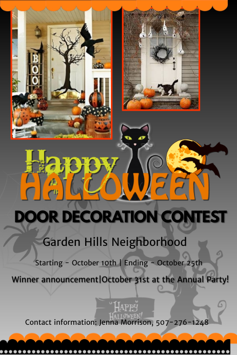 Halloween Door Decorating Contest Winners Throughout Halloween Door Decoration Contest Template Postermywall