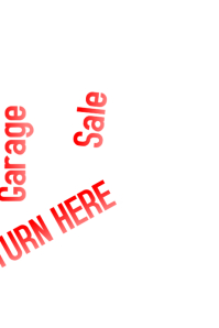 Garage Sale: Turn here sign