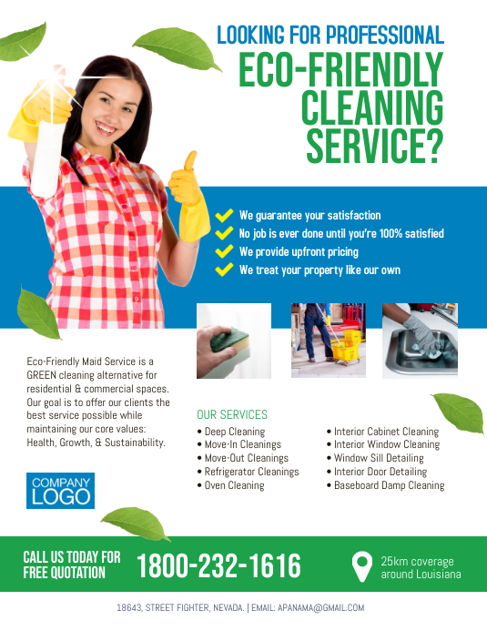 Eco-Friendly Cleaning Services Flyer Poster