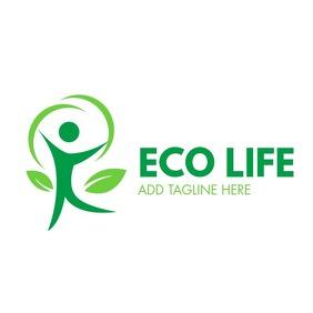 eco life logo man icon template