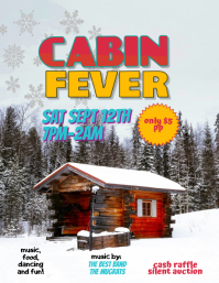 Editable Cabin Fever Party Flyer Template
