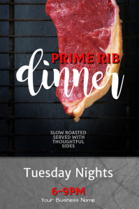 Editable Prime Rib Dinner flyer template