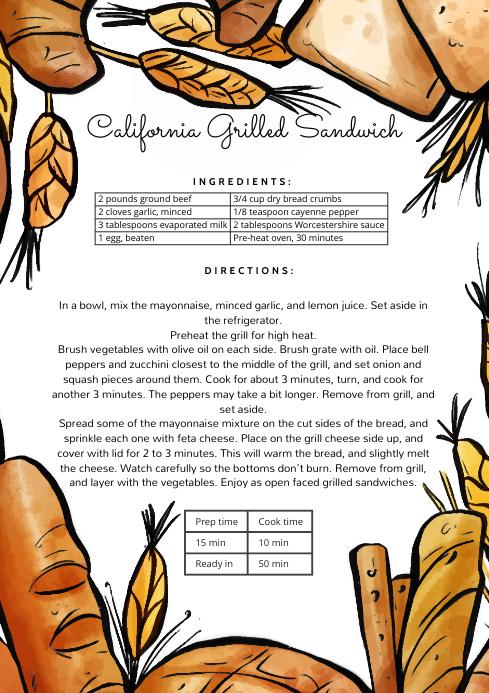 Editable Recipe Card with Bread