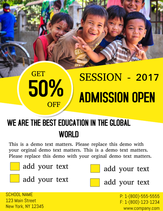 education admission template postermywall