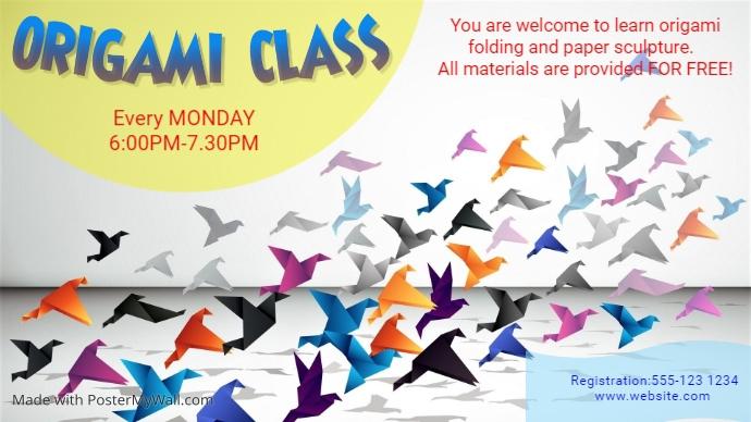 Educational-Origami class Ekran reklamowy (16:9) template