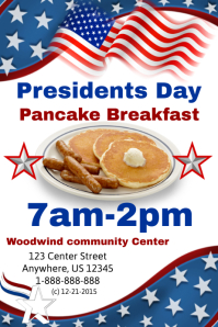 Presidents Day Pancake Breakfast Event Template