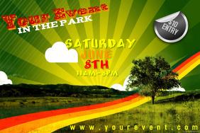 Park Tree Retro Grunge Rainbow Park Environment Ad Wall Decor Poster