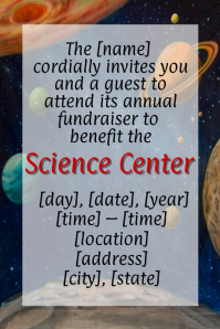 Space Planet Science Fundraiser Flyer Poster Invitation