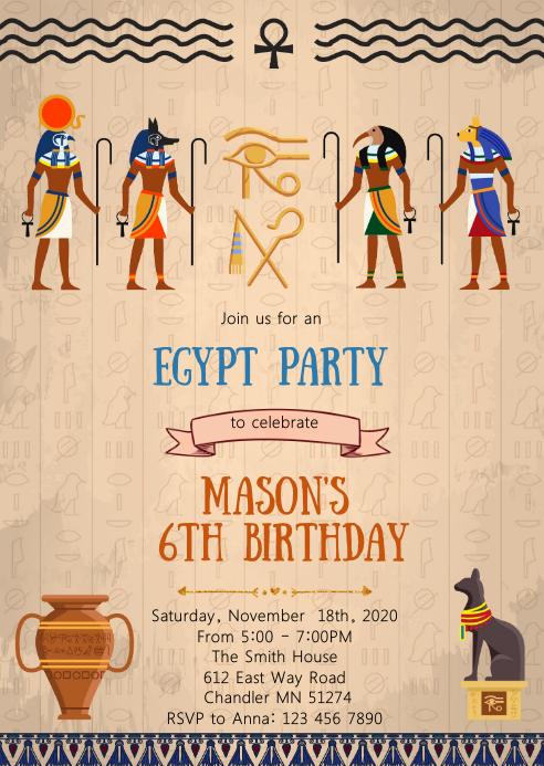 Egypt birthday party invitation A6 template