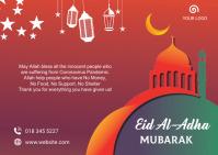 Eid-Al-Adha celebration postcard Poskaart template