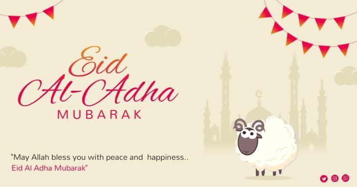 Eid Al Adha Mubarak Facebook shared Post Isithombe Esabiwe ku-Facebook template