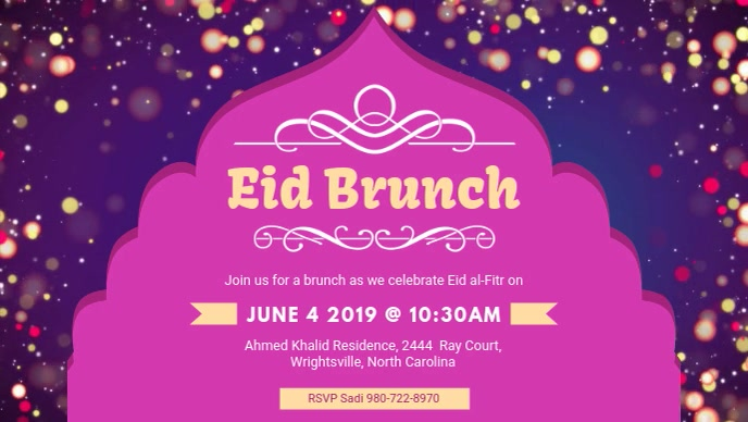 Eid Brunch at Community Center Facebook Video template