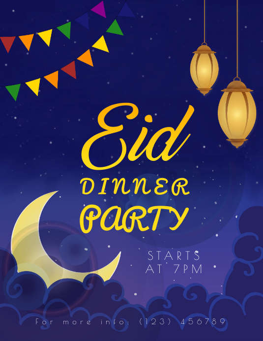 eid dinner party flyer template postermywall