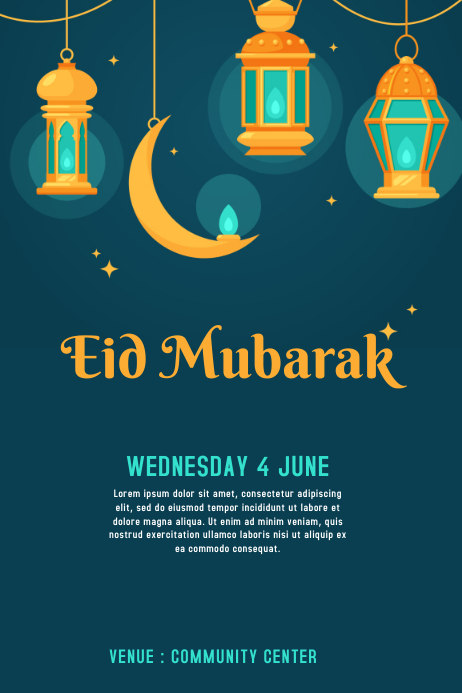 Eid Invitation Card Template Postermywall