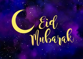 Eid Mubarak Cover Greeting Card Moon Stars Ad Postal template