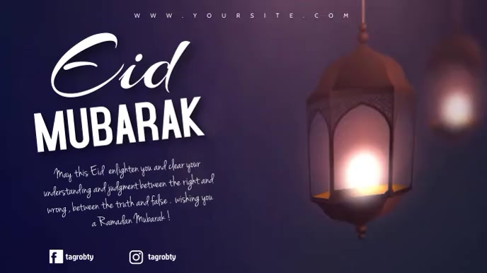 eid mubarak editable video wishes al fitr 数字显示屏 (16:9) template