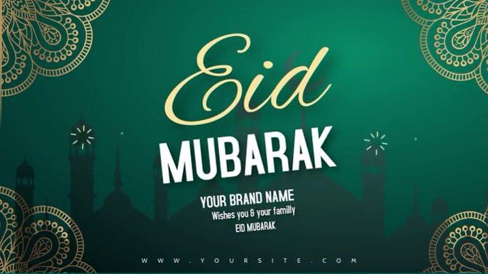eid mubarak editable video wishes mosque Digitalt display (16:9) template