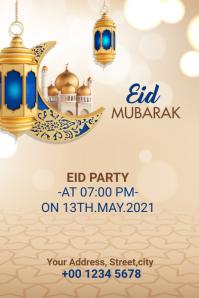 Eid Mubarak Eid party banner Spanduk 4' × 6' template