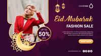 Eid Mubarak Fashion Sale Poster Banner Affichage numérique (16:9) template