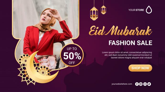 Eid Mubarak Fashion Sale Poster Banner Digitalt display (16:9) template