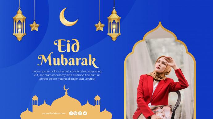 Eid Mubarak Greeting Banner Poster Digitalt display (16:9) template