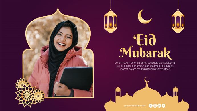 Eid Mubarak Greetings Poster Banner Digitalt display (16:9) template