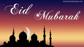Eid Mubarak Video Cover Moon Night Greeting Digitale Vertoning (16:9) template