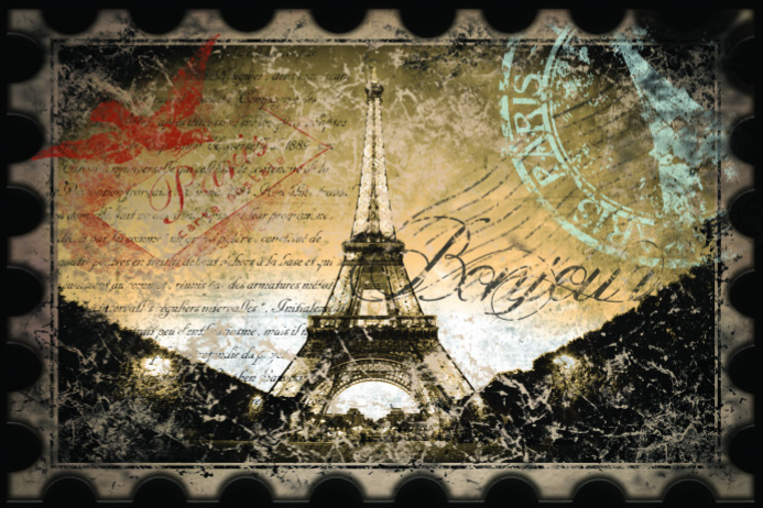 Eiffel Tower Stamps Poster template