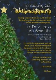 Einladung Weihnachtsfeier Mitarbeiterfest Employee Party Christmas Events A4 template