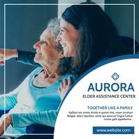 elder care assistance services blue and white Сообщение Instagram template