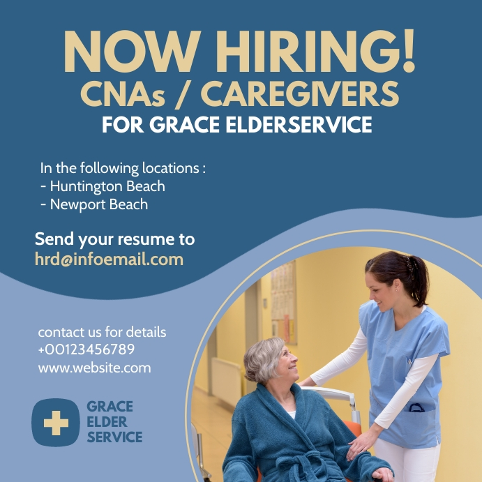 elder care jobs Instagram Plasing template