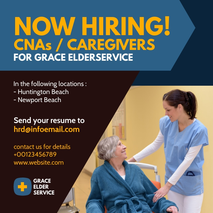 elder care jobs hiring recruitment Instagram Plasing template