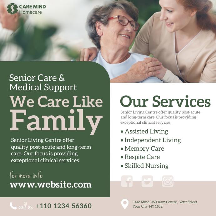 Elder Care Service Ad โพสต์บน Instagram template