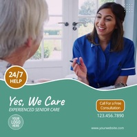 Elderly Home Care Services Video Ad Square (1:1) template