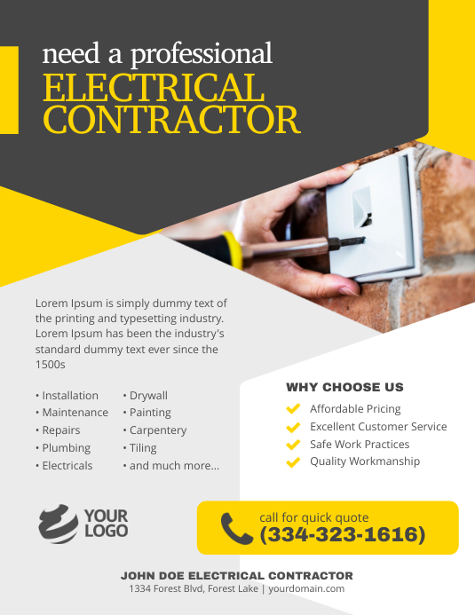 Electrical Contractor Flyer Poster