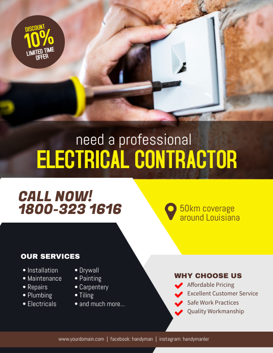 Copy Of Electrical Contractor Services Flyer Poster